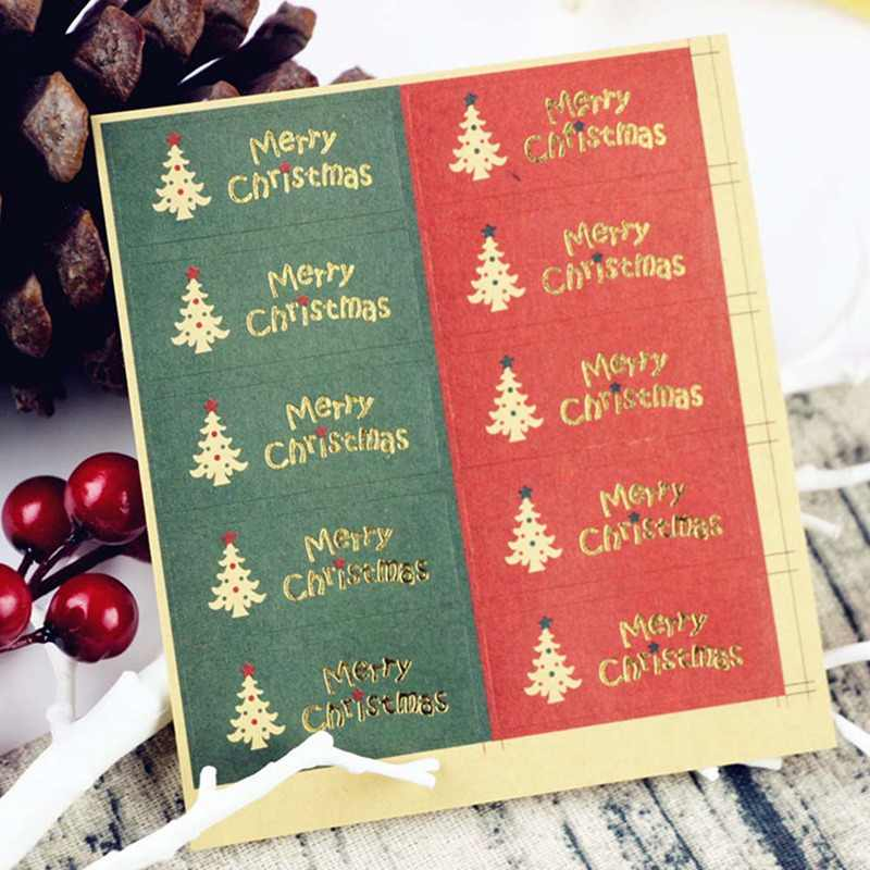 10 Pcs/lot Merry Christmas package Seal Sticker Christmas Tree Gift Label Sticker Scrapbooking For Christmas Party Decoration