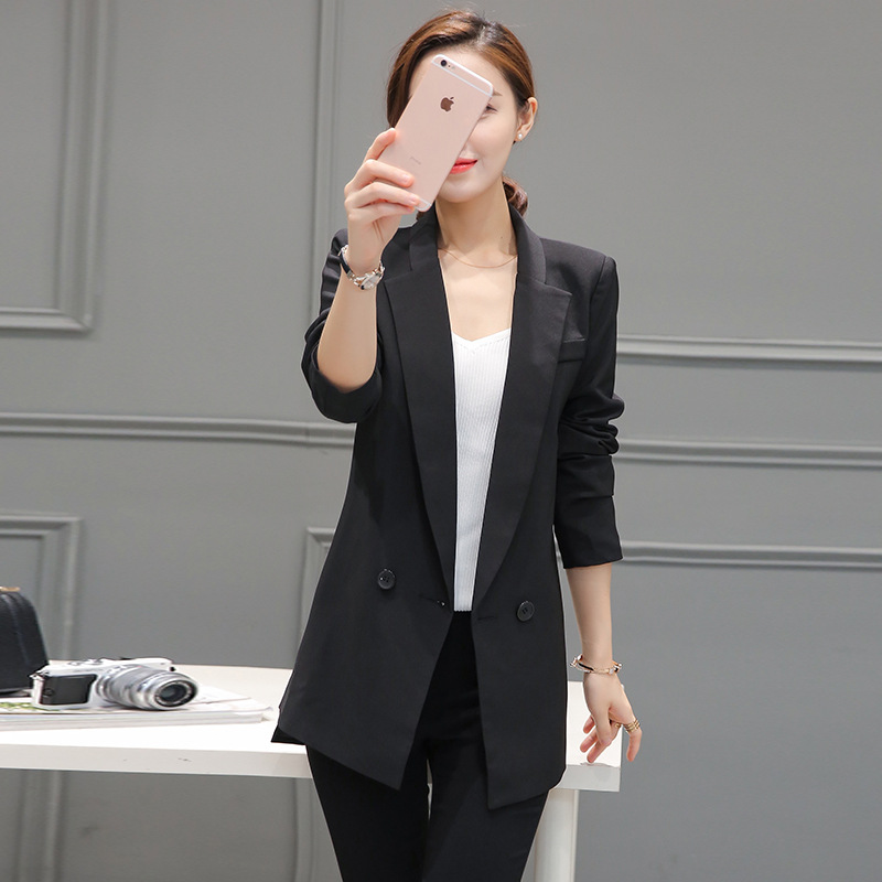 Fashion 2018 Spring Autumn Women Long Suit Jackets Single Button Thin Long Section Business Jacket Blazer