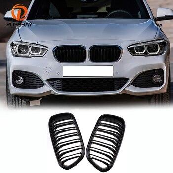 Possbay Mobil Pengganti ABS Depan Lebar Ginjal Hood Mesh Pemanggang Dual Bilah untuk BMW 1 Series F21 3- pintu 2015 2016 2017 Facelift