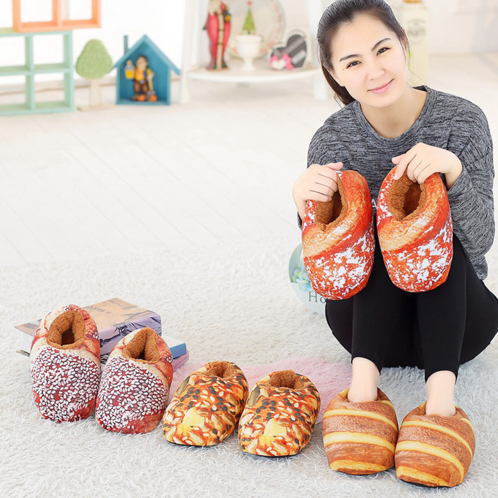 MUQGEW Unisex Slippers Shoes Bread-Shape Plush Inside Winter Autumn Casual Warm Spanking