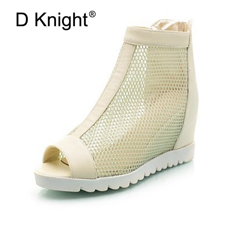 New Summer Ankle Boots For Women Fashion Cut-Outs Mesh Zip Snadals Ladies Peep Toe Wedge Heel Height Shoes Woman Plus Size 34-43 fringe rivets wedge cut out women summer sandal ankle boots 2017 new casual cutout woman plus size short boots 41 42 43 xfp50416
