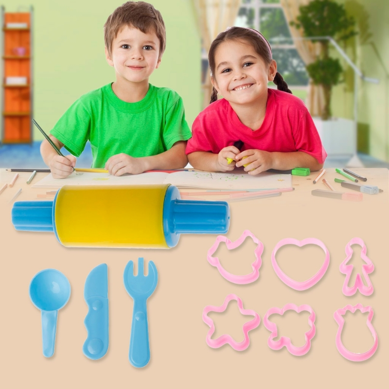 10Pcs Kids Clay Scuplture Tools Playing Toy Set Craft Plastic Colorful Mold-M15