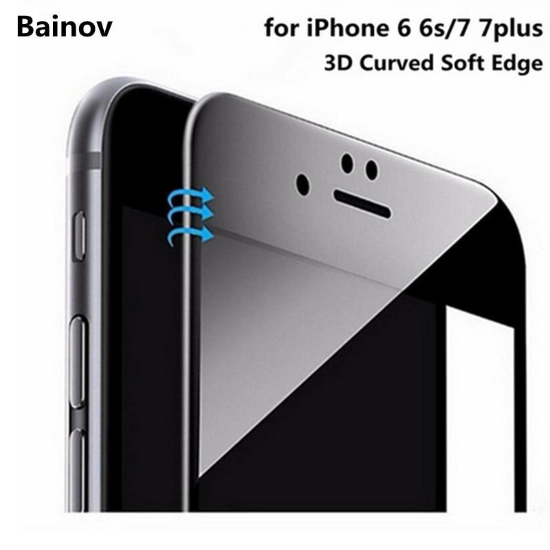 8eb5a9887a6 Bainov 3D Curvada Borde Suave Recubierto de Vidrio Templado Para el iphone  7 7 plus Protector