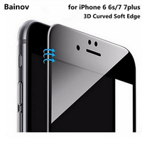 Bainov 3D Curved Soft Edge Coated Tempered Glass For iPhone 7 7plus Screen Protector Glass Film for iPhone 6 6s/6 6sPlus