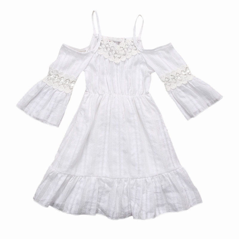 Hot Selling Trendy Flower Girls Princess Full-length Dress Kid Baby Party Fancy Solid Wedding Pageant Lace Strap Dresses Clothes best selling girls lace dress baby ball gowntutu baby dress party factory price direct selling custom made