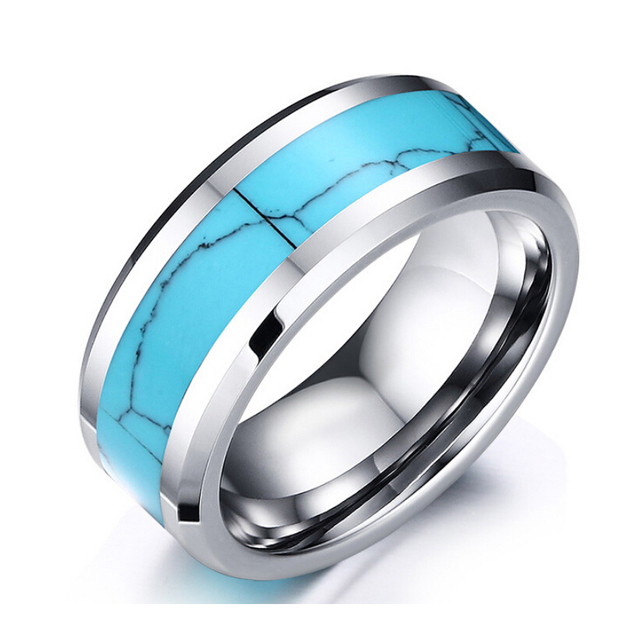 8mm Tungsten Carbide Turquoise Ring Wedding Engagement Bands Ring For Men Women Vintage Jewelry