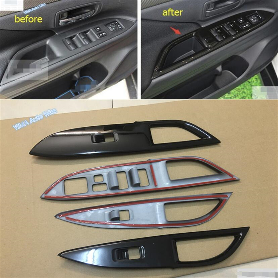 Lapetus Black Style Car Styling Door Handle Holder Window Lift Button Switch Cover Trim ABS For