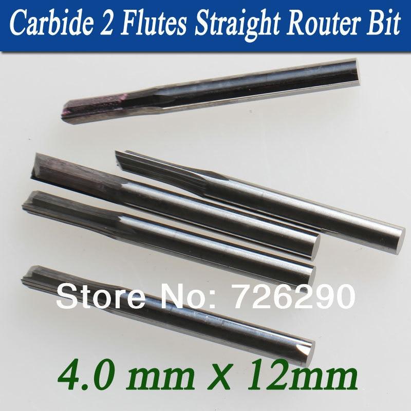 5pcs 4.0 * 12mm 2 flauti fresa diritta, punte del router di legno, - Macchine utensili e accessori - Fotografia 3