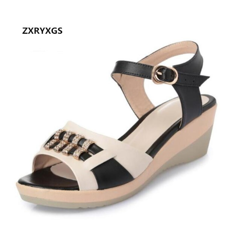9984228ada6c37 Leather 2018 Size Shoes Colors Black Non Genuine red slip Wedges Summer New  blue Fashion Sandals ...