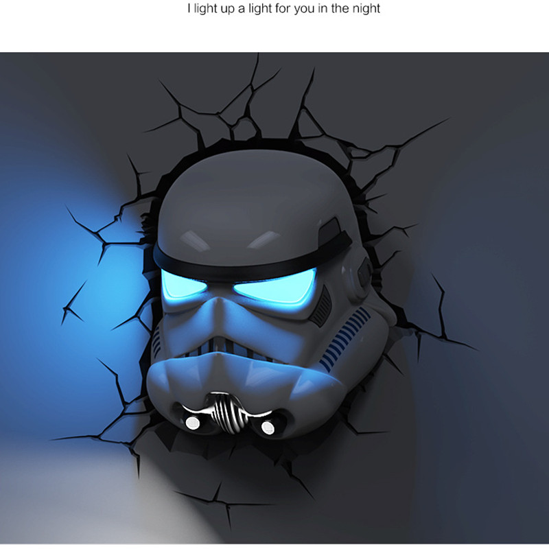 Star Wars: The Force Awakens Mark Hamill Storm Troops Imperial Stormtrooper Mask With LED Light Wall Lamp 3D Orn Wall Lamp S589 стоимость