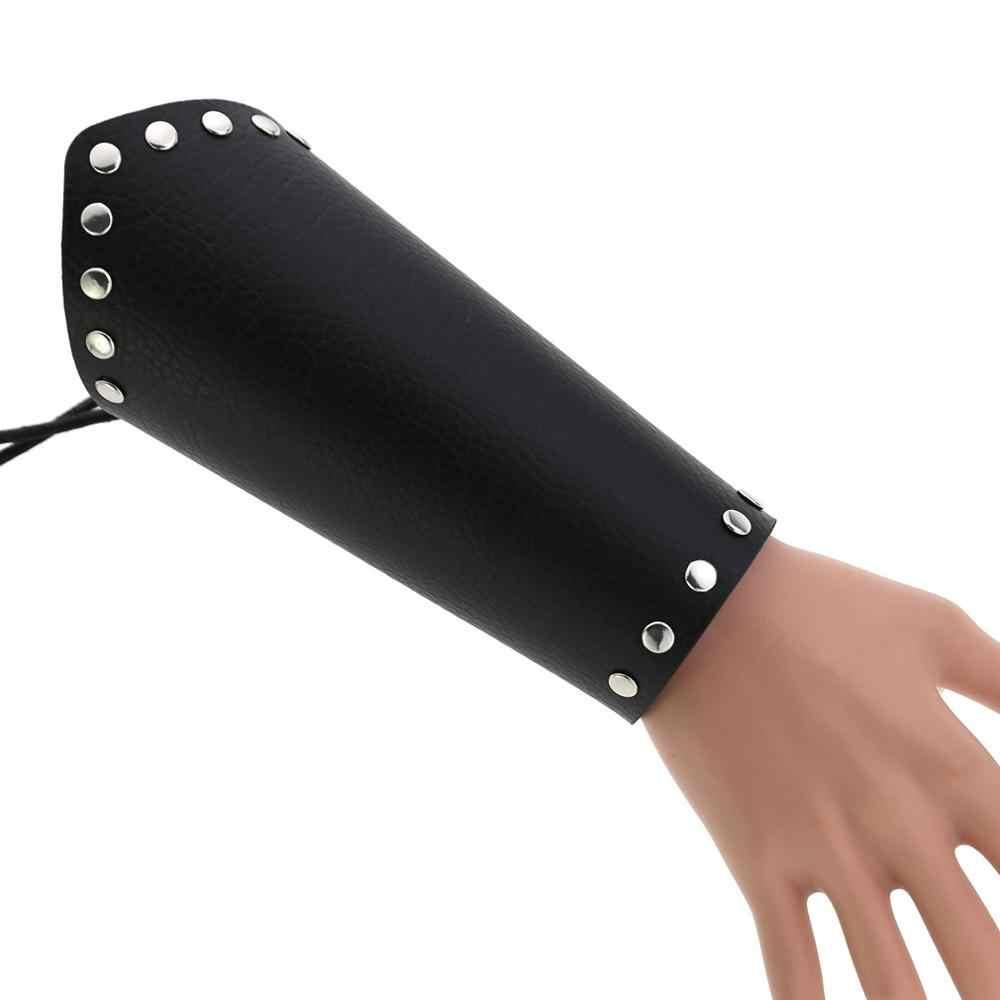 KMVEXO PU skórzana bransoletka kobiety mężczyźni Punk Cosplay jazdy armii zewnątrz opaski na rękę w stylu Vintage szeroki pasek bransoletki bransoletki biżuteria ręczna
