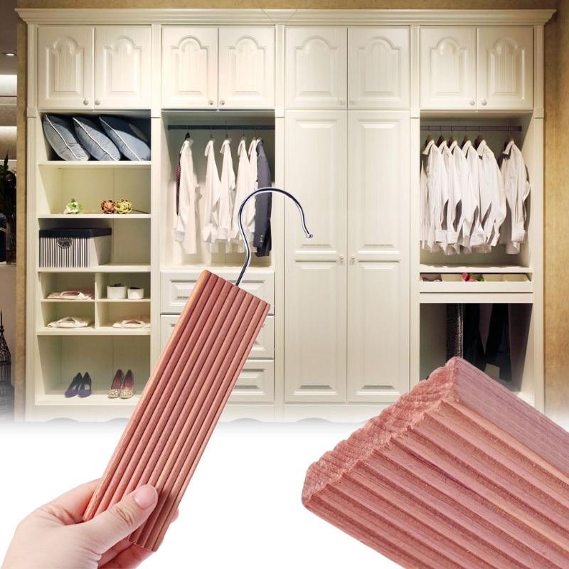 New Natural Cedar Wood Moth Hanger Hanging Block Repellent Wardrobe Clothes Drawer