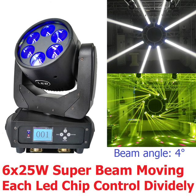 New 6x25W Super Beam Led Moving Head Light DJ Disco Stage Effect Lights 12/20 DMX Channel 8 Internal Programs Each Color Control