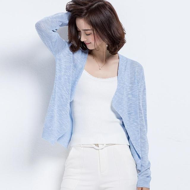 Moda das Mulheres de Linho de Algodão Cardigan De Malha de Verão Nova Qualidade Chegada de Design Da Marca Casual Tops de Mangas Compridas 6 Cores