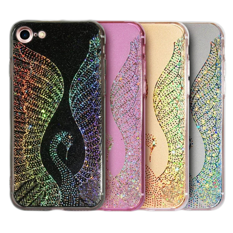 Ultra Thin Case for iPhone 6 Luxury Swan Pattern Design Back Cover Phone Cases For iPhone 6S Glitter Cover Fundas Capa