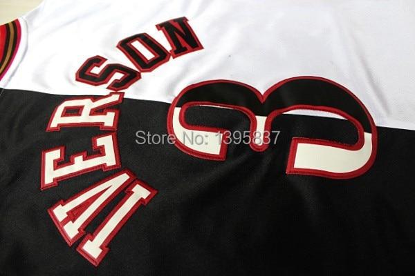 newest 04657 f7f82 3 Allen Iverson Split Basketball jersey,Men's Half and Half ...