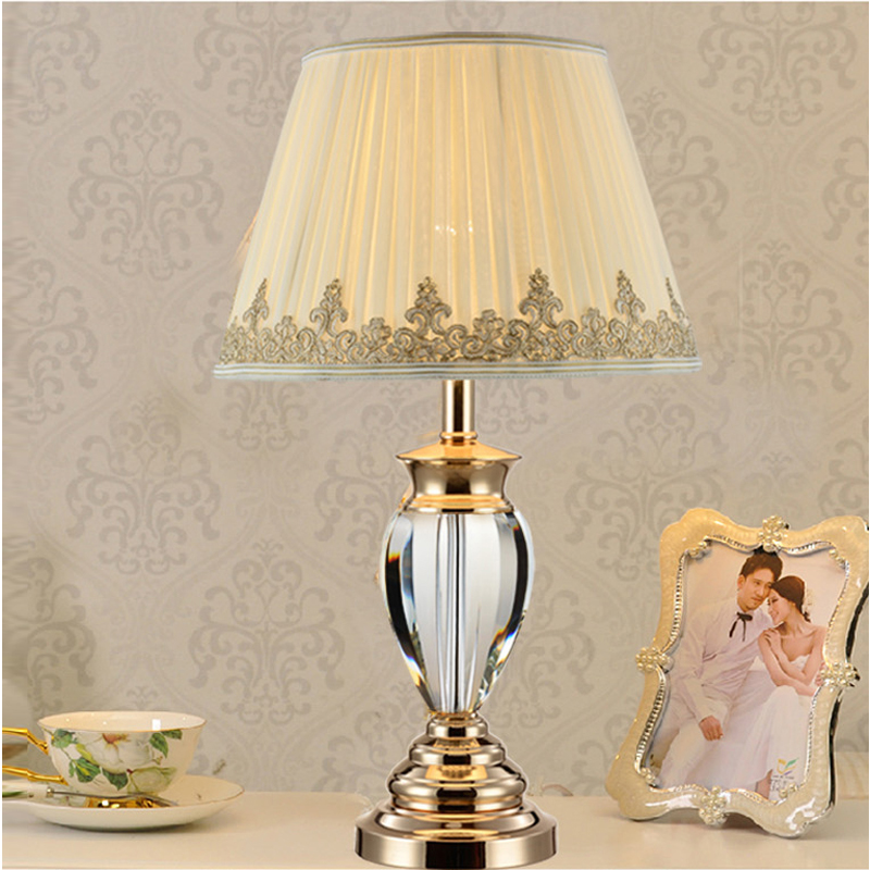 White Table Lamp Modern Bedside Tables Crystal Lighting Study Room Wedding Lights Fabric Cover Bedroom In Lamps From