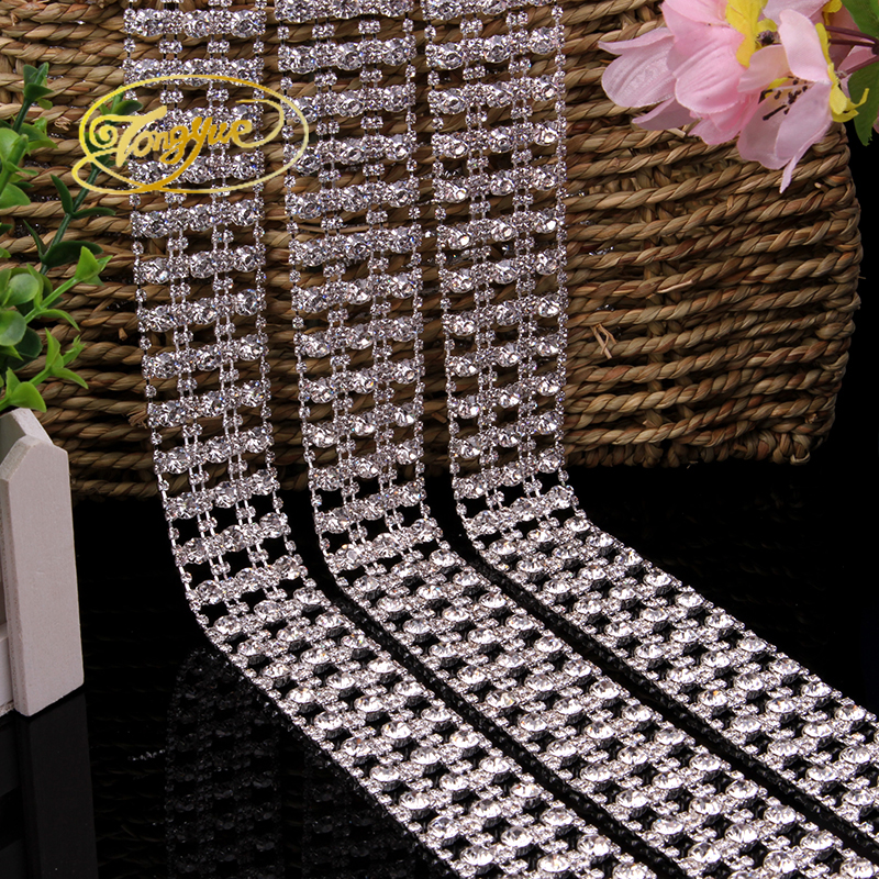 2017 The New Directly Sale Free Shippment Lot Costume Applique Crystal Rhinestone Trims Silver Wedding Decoration