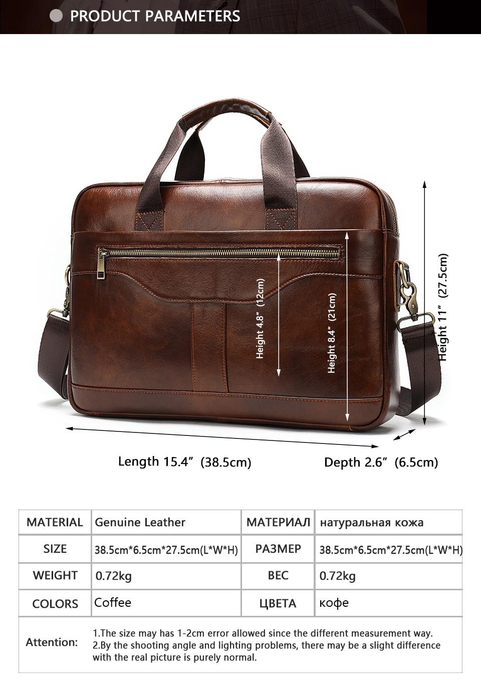 2 Bag Men's Genuine Leather Briefcase Male Handbags Lawyer Man Laptop Bag Leather for Men Messenger Bags Men's Briefcases