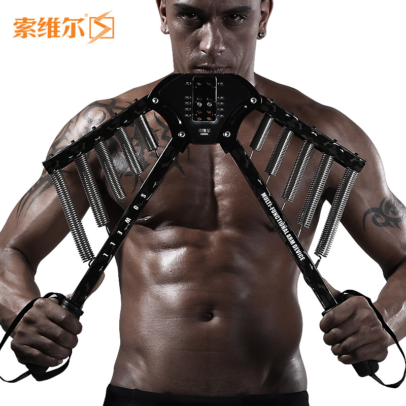 ФОТО Household Chest Arm Expander Strength Training Dexterity Trainer 4 levels of adjustable arm strength Carbon steel spring