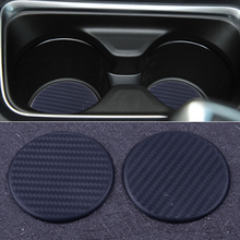 DWCX الأسود سيليكون 2 قطعة مستديرة 63 مللي متر لوحة سيارة كأس الماء فتحة سجادة ضد الإنزلاق وسادة وسادة واقية اكسسوارات السيارات الداخلية