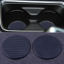 DWCX Black Silicone 2pcs Round 63mm Car Dashboard Water Cup Slot Non Slip Mat Pad Cushion Protective Accessories Car Interior