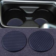 DWCX tapis antidérapant en Silicone noir, 2 pièces, rond, 63mm, tableau de bord de voiture, fente pour gobelet deau, accessoires de protection du coussin, intérieur de la voiture