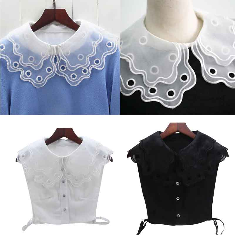 Women White/Black Color Lace Detachable Lapel Choker Necklace Shirt Fake False Collar Fashion Clothes Accessories
