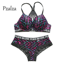Pzalza Underwear Set Women Sexy Cute vs Pink Back Push Up Bra Set Lace Women Underwear Panty Set Front Closure Lingerie Bra