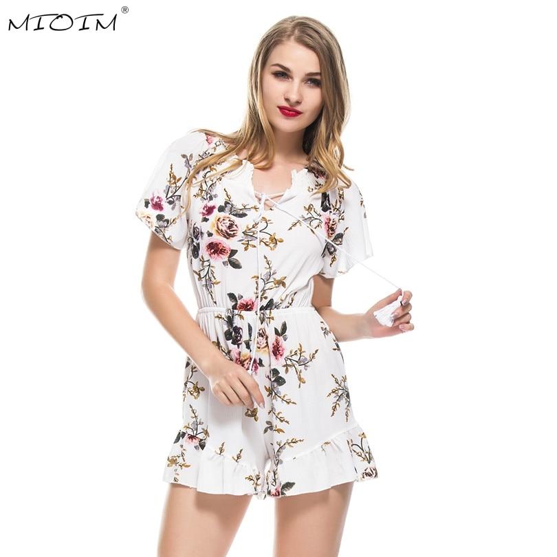 MIOIM Summer Tessel Flower Print Playsuit Women Bohemian Stylish Womens Rompers Ruffles High Waist Femme Playsuit