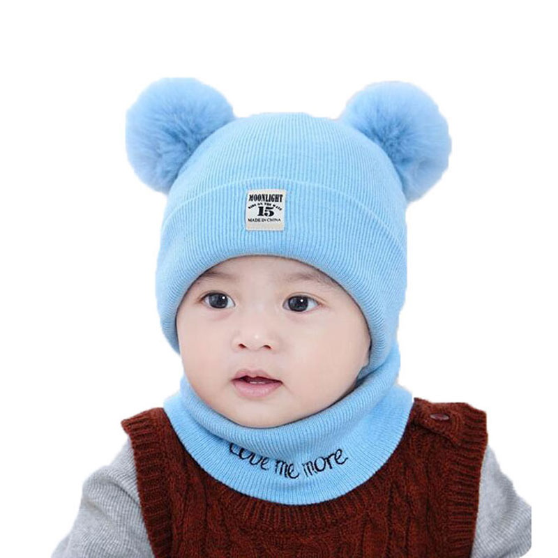 Baby Scarf Cap Sets Boy Girl Solid Knit Pom Pom Beanies Hat And Ring Scarf Set 2018 New Kids Winter Warm Cap Scarf Suit M6804