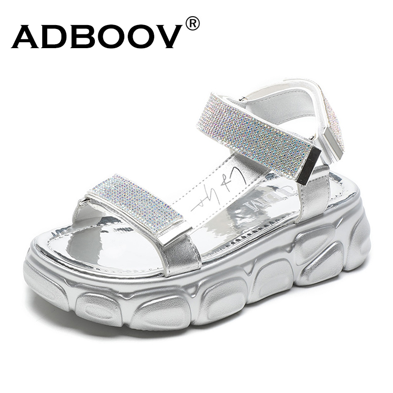 ADBOOV Rhinestone Platform <font><b>Sandals</b></font> Women Peep Toe <font><b>Flat</b></font> <font><b>Sexy</b></font> <font><b>Sandals</b></font> Female 2019 Summer Women Shoes image