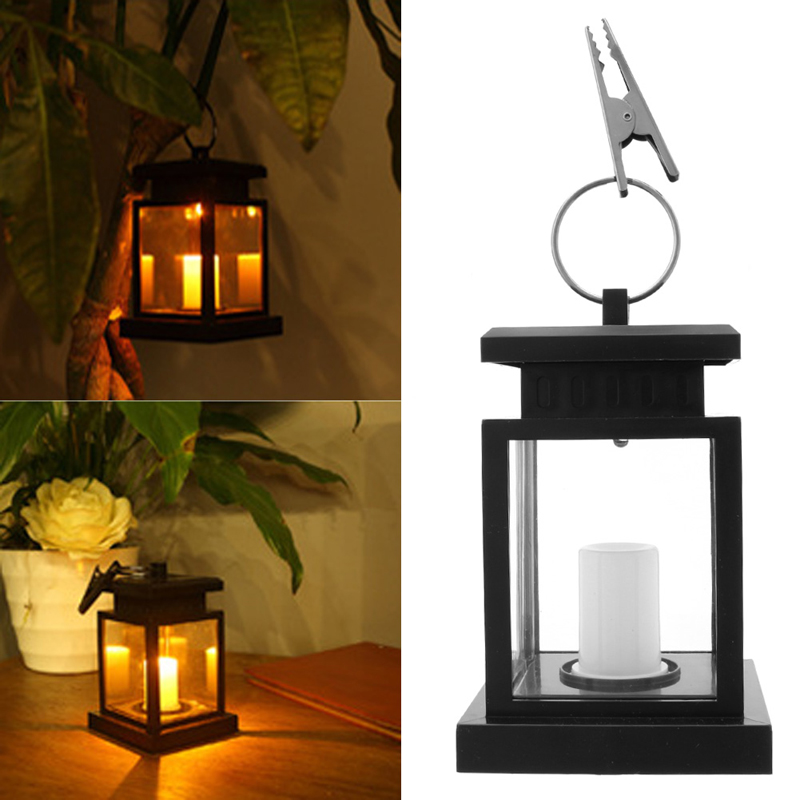 Outdoor Hanging Candle Lamp LED Solar Powered Garden Wall Carriage Lantern Light one light frosted glass antique rust hanging lantern