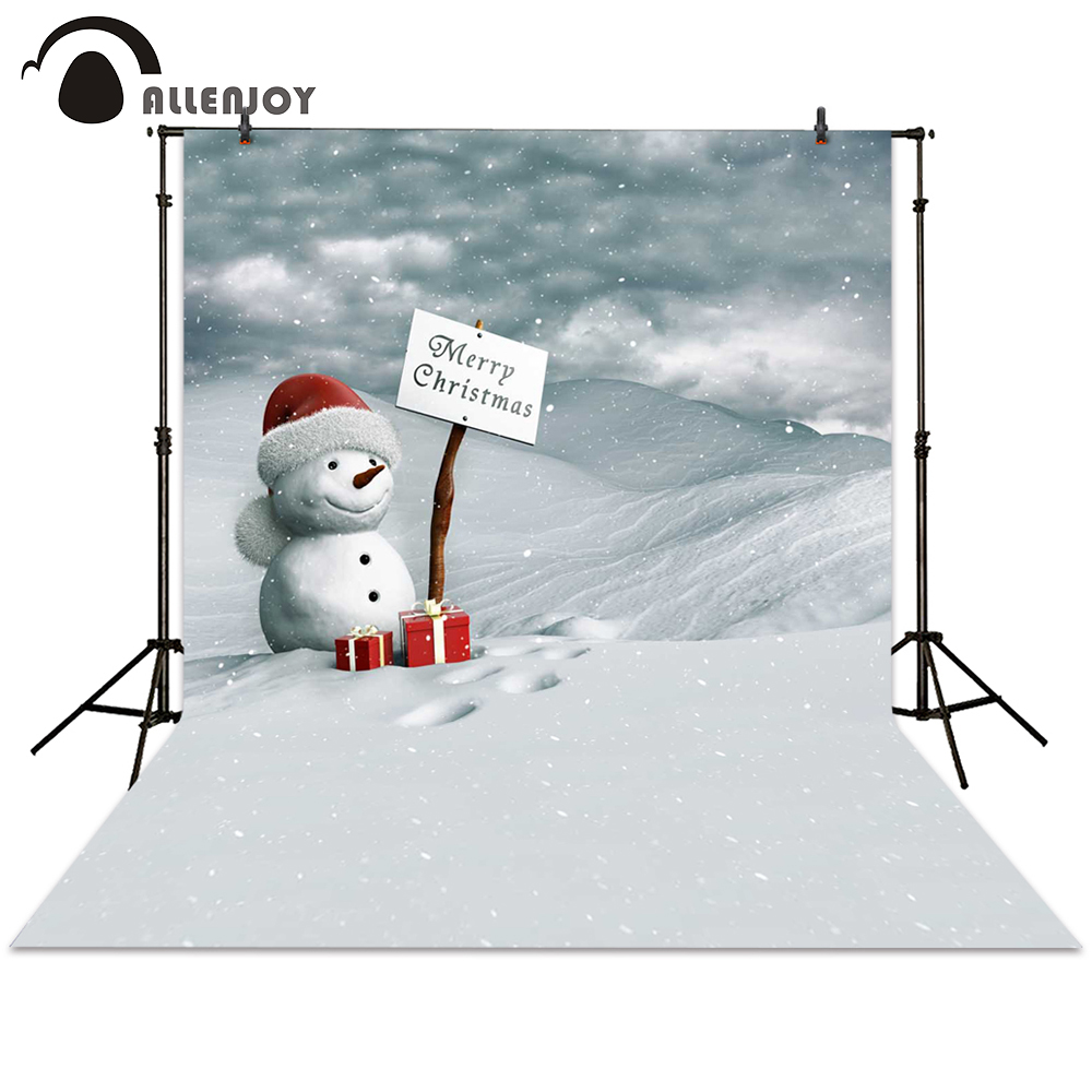Allenjoy photography backdrop winter Christmas snowman gift snow white backgrounds photocall photographic photo studio children snowman village snow moon snowflake photo backdrop high grade vinyl cloth computer printed christmas photography backgrounds
