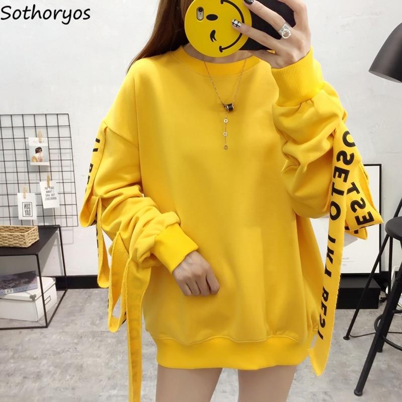 Hoodies Women Loose Trendy Printed Oversize Sweatshirt Students Kawaii Korean Style Long Sleeve Womens Chic Warm Cotton Pullover