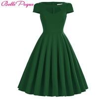 Belle Poque Vintage 50s Dress Women Summer Audrey Hepburn Vestidos Black Red Green Big Size Pinup Casual Party Wiggle Dresses