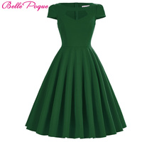 Belle Poque Vintage 50s Dress Women Summer Audrey Hepburn Vestidos Black Red Green Big Size Pinup Casual Party Wiggle Dresses