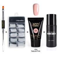 CANNI 45g Poly gel uv builder gel Soft pink acrylic gel ship solution brush tool nail kit set nail art cover natural