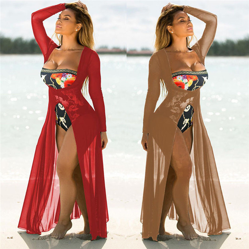 2018 New Fashion Summer Women Brazilian Bathing Suit Cover Ups Lace V Neck Crochet Swimwear Beach Dress Plus Size Women Clothing