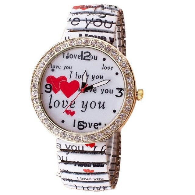 One piece watch women Love Heart Diamond Printed Elastic Bracelet Wrist Quartz B