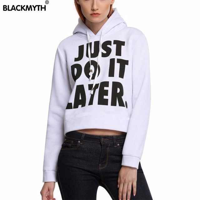 64a9bc650e4ed New Women Fashion JUSE DO IT LATER Letters Printing Long Sleeve Loose  Pullover White Black Short