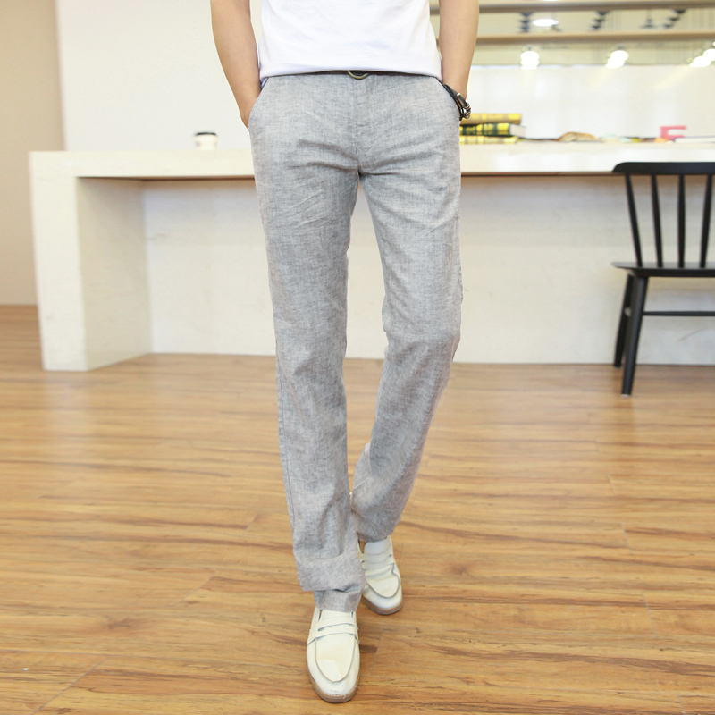 Online Shop 2015 fashion the linens men linen pants men light grey ...