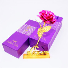 Dried Flowers 24K Foil Plated Rose Gold Wedding Decoration Flower Valentines Day Gift Lovers Artificial Only