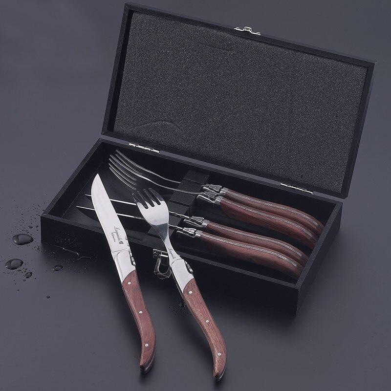 6 pièces couteau à Steak Style Laguiole fourchette à dîner manche en bois Rose couteaux à Steak acier inoxydable vaisselle couverts Restaurant 8.7''-in Fourchettes from Maison & Animalerie    3