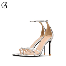 Купить с кэшбэком GOXEOU/spring 2019 new one-word buckle with shiny  high-heeled sandals for women  size32-46  free shipping