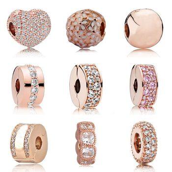875bbc84e9c5 Rosa oro pavimenta abrir mi corazón brillante elegancia de cristal tapón  Clip de beads Fit Pandora pulsera 925 pulsera de plata esterlina encantos  de la ...