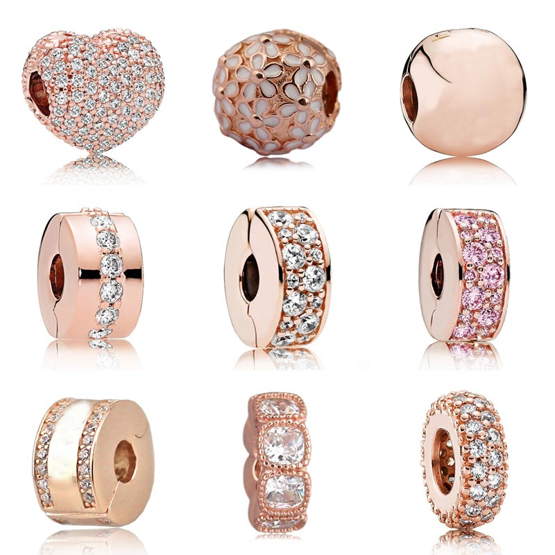 Rose Gold Pave Open My Heart Shining Elegance Crystal Clip Stopper beads Fit Pandora Bracelet 925 Sterling Silver Charms Jewelry