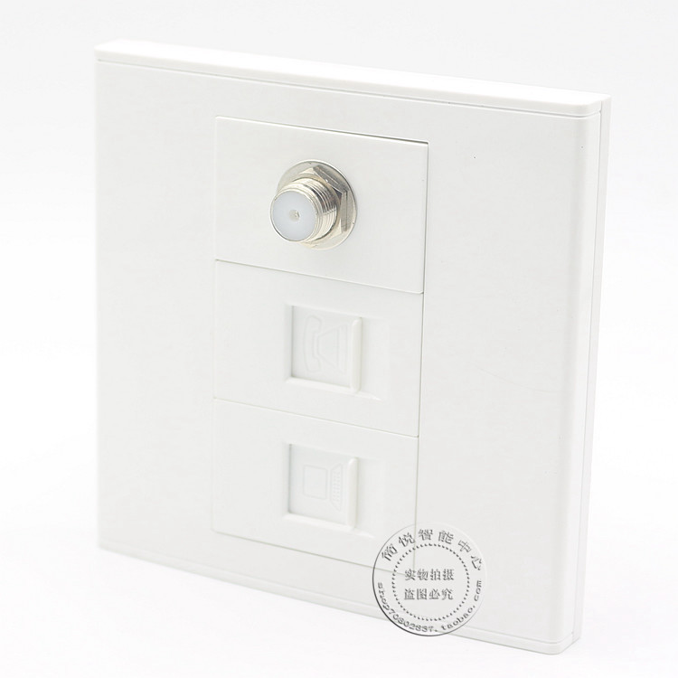 Wall Socket Plate 3 Ports 1 Network LAN & One Cat3 Telephone Phone Panel &One F-type coax connection Wall Mount Plate RJ11/RJ45