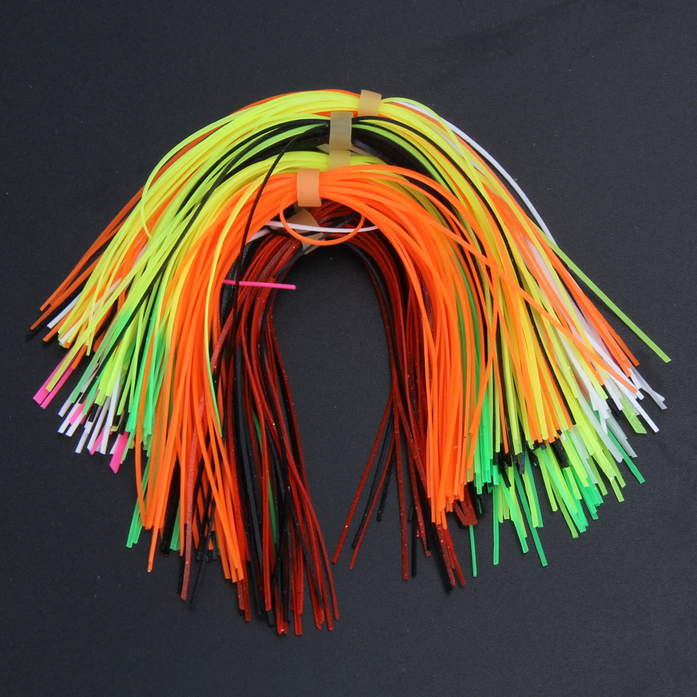 цены 10 Bundles 30 Strands Silicone Skirts Rubber Jig Lures Squid Rubber Skirt DIY Spinnerbatis Buzzbaits Fishing Tackle Accessories