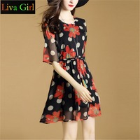 Liva Girl Summer Europe And United States Big Yards Dress Collect Waist Half Sleeve Printing Emulation
